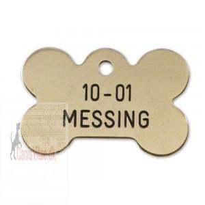 Hundetegn messing stort kødben 10-01-31