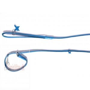 Collar rundsyet læder udstillingsline, 135cm/10mm, blå-31