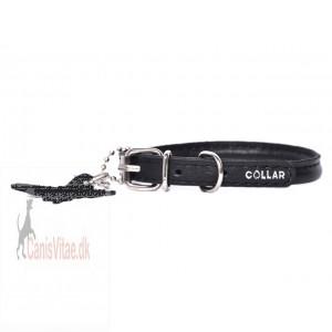 Collar rundsyet læder halsbånd, sort Fra-31
