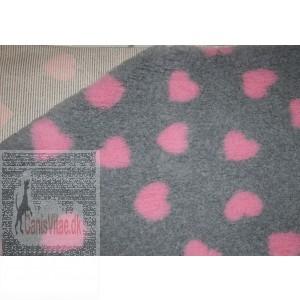 Vet-bed, 100 x 150 cm Grå med pink hjerter-31