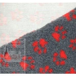 Vet-bed, 100 x 150 cm Grå med røde poter-31