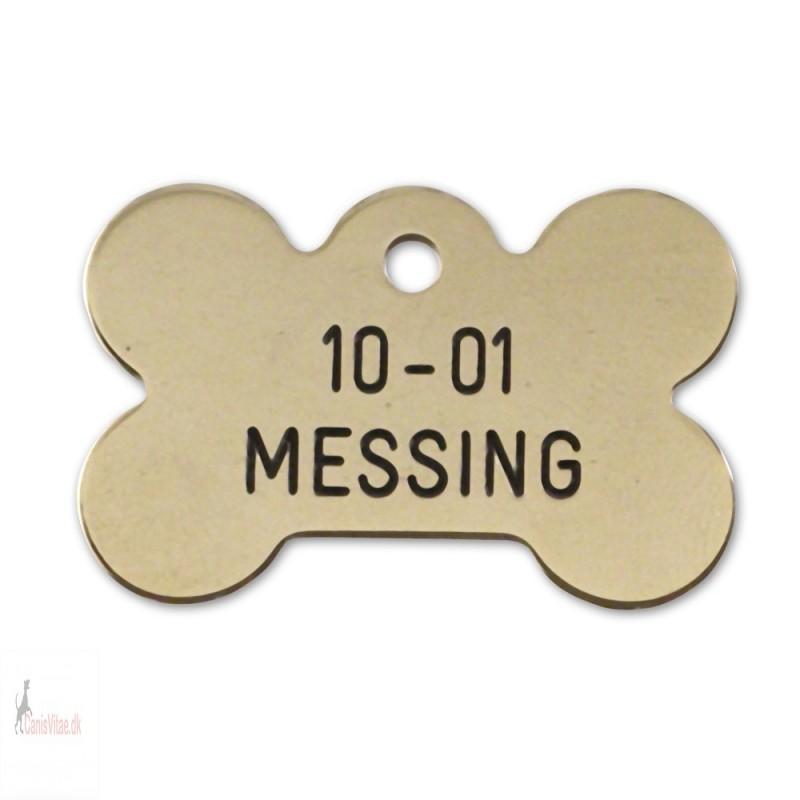 Hundetegn - messing - stort kødben - 10-01
