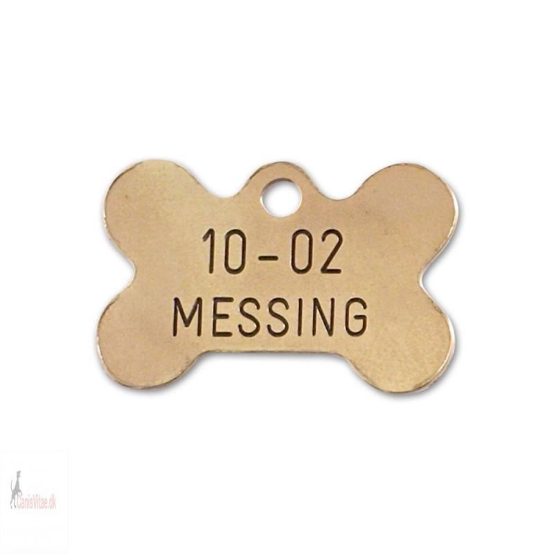 Hundetegn - messing - lille kødben - 10-02