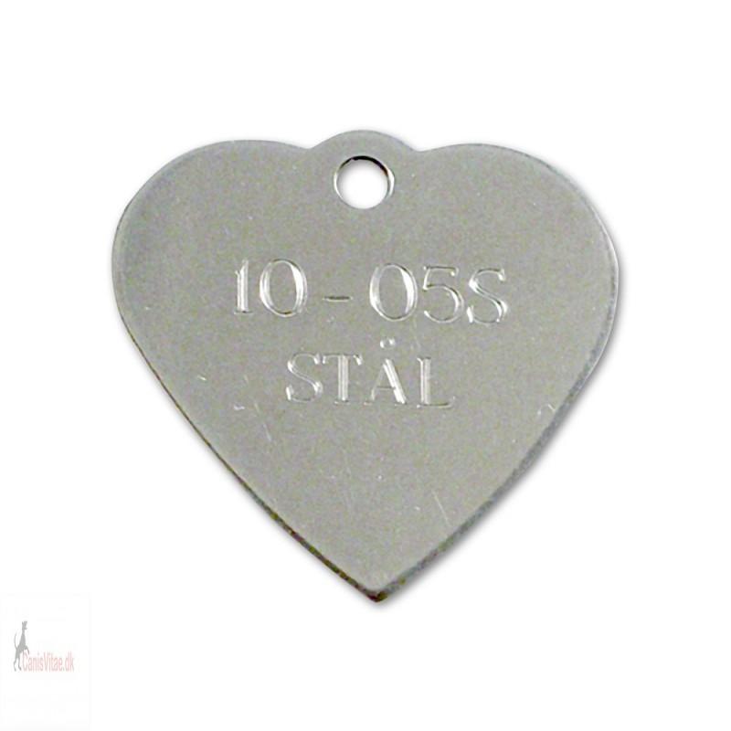 Hundetegn - rustfri stål - hjerte - 10-05 S