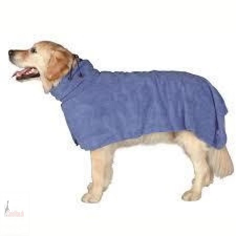 Hundens badekåbe - blå microfiber - fra