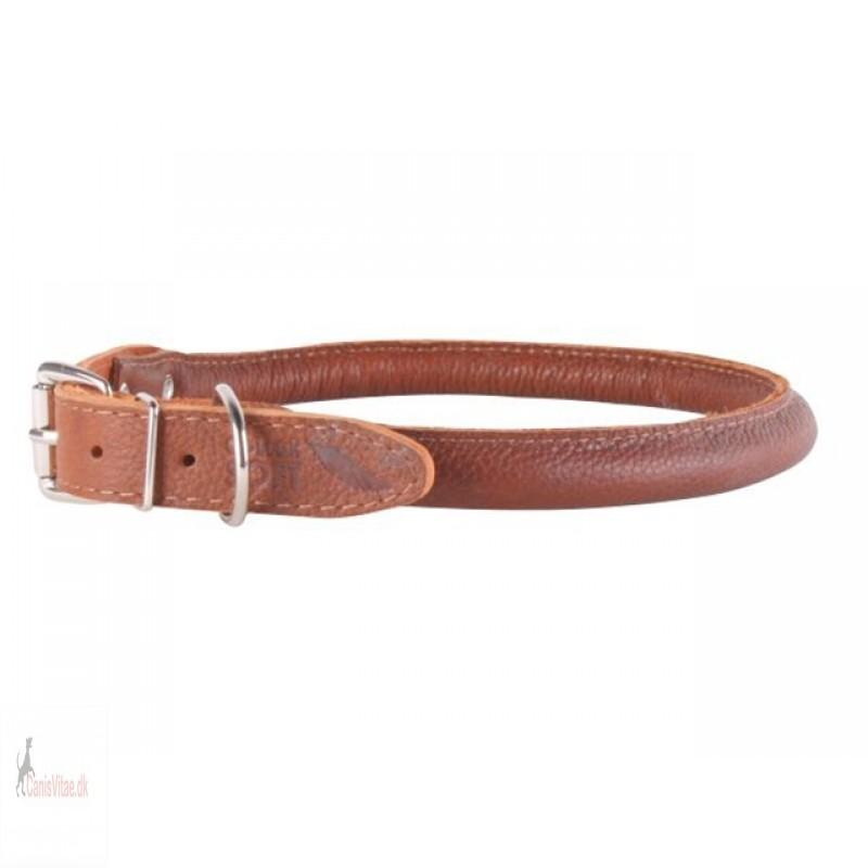 Collar Soft rundsyet læder halsbånd, Brun - fra