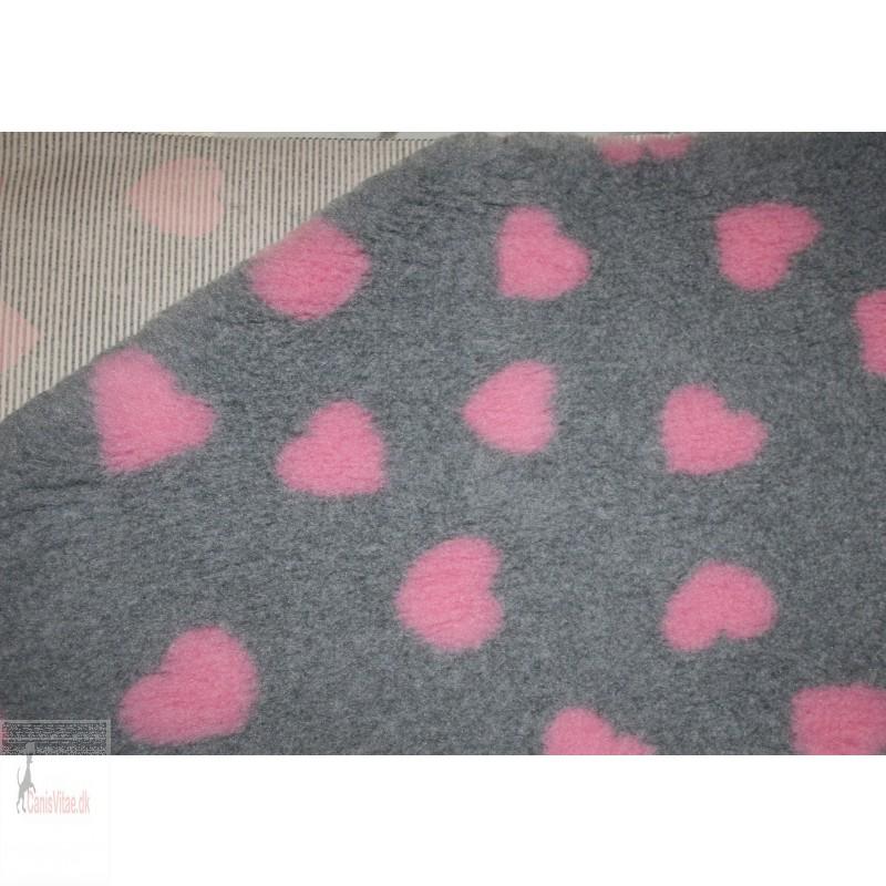 Vet-bed, 100 x 150 cm - Grå med pink hjerter