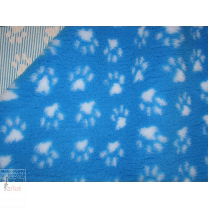 Vet-bed, 100 x 150 cm - Turkisblå m. poter