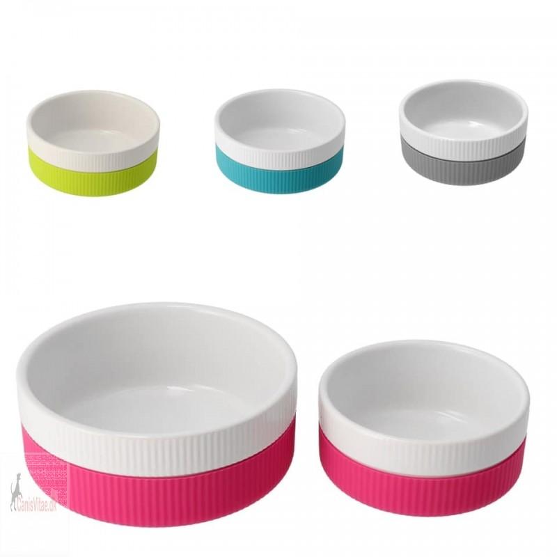 Keramik skål med silikone - 300 mi, vælg farve