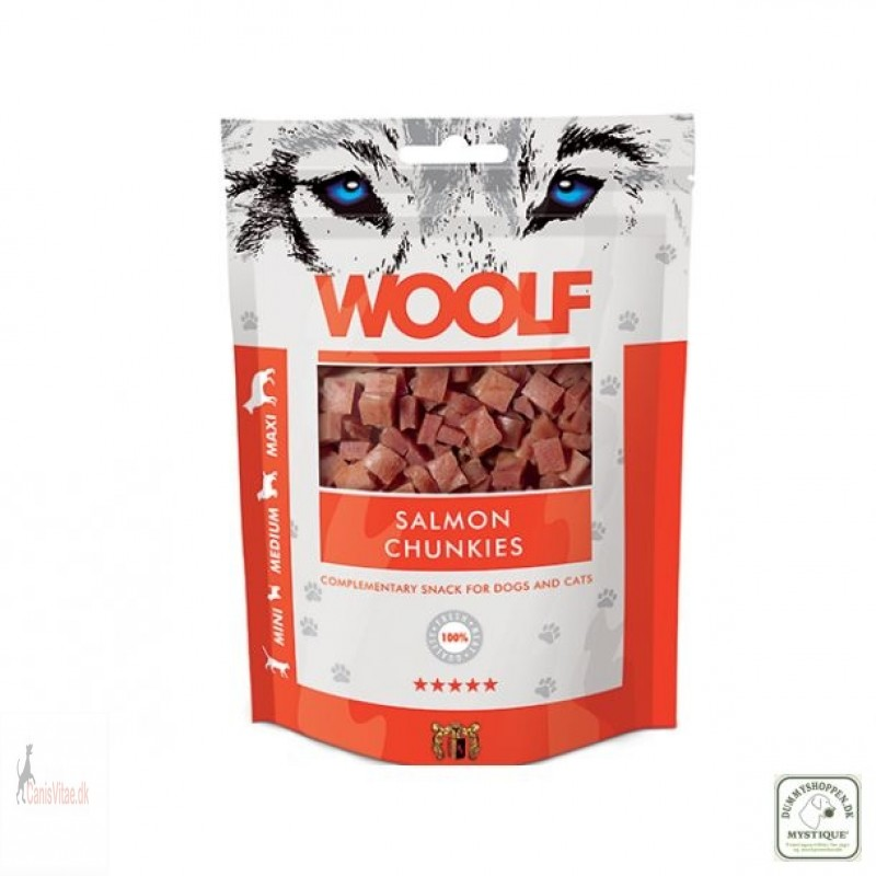 Woolf -salmon chunkies, 100 GRAM