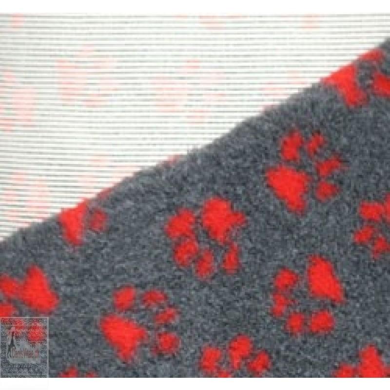 Vet-bed, 100 x 150 cm - Grå med røde poter