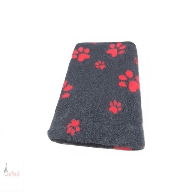 Vet Bed,antracit m røde poter, , 150x100cm