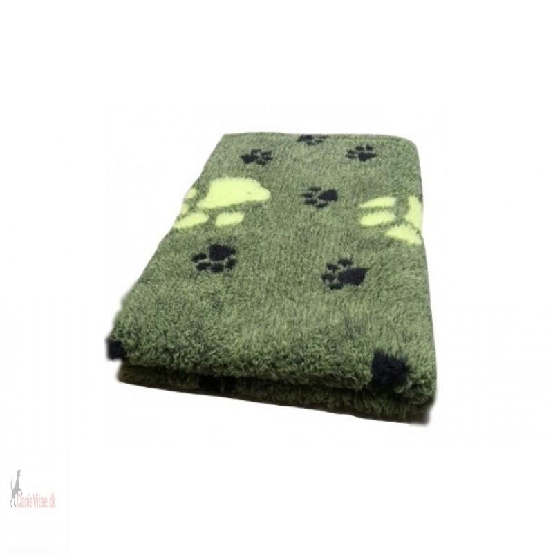 Vet Bed,grøn m poter, 3 farvet , 150x100cm