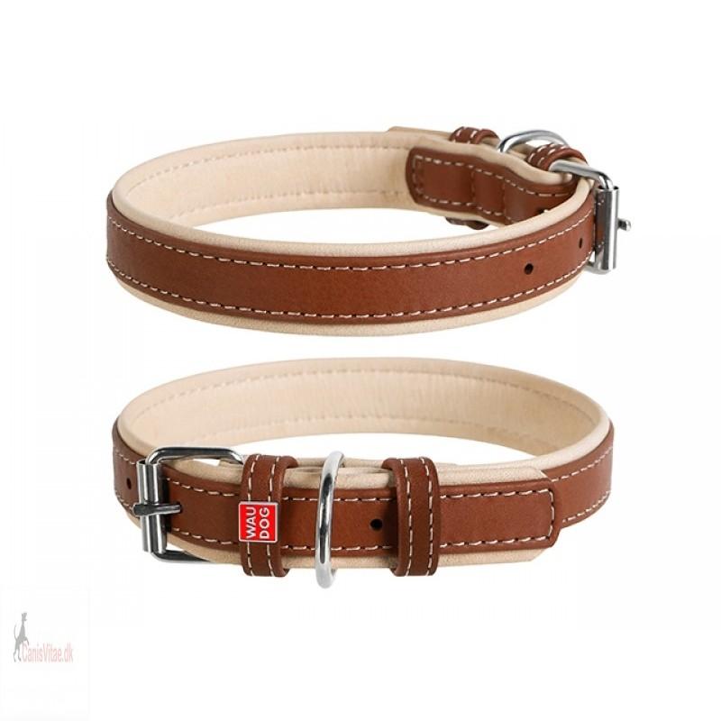 WauDog Soft læder halsbånd brun- vælg str. - fra