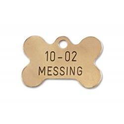 Hundetegn messing lille kødben 10-02-20