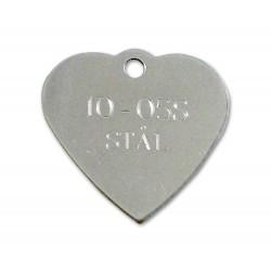 Hundetegn rustfri stål hjerte 10-05 S-20