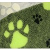 Vet-bed, 100 x 150 cm Grøn med limegrøn pote-02